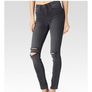 ✅Paige Hoxton Ankle smoke grey destructed skinny